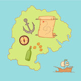 Hand drawn vector illustration - treasure map and design element Royalty Free Stock Photos