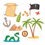 Hand drawn vector illustration - treasure map and design element. S (mountains,   palm,compass, anchor etc Stock Photos