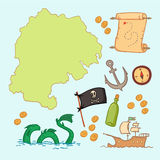 Hand drawn vector illustration - treasure map and design element. S (mountains,   palm,compass, anchor etc Stock Images