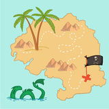 Hand drawn vector illustration - treasure map and design element Royalty Free Stock Photo