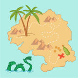 Hand drawn vector illustration - treasure map and design element. S (mountains,   palm, dragon, sea etc Stock Image