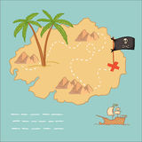 Hand drawn vector illustration - treasure map and design element. S (mountains,   palm,ship, flag Stock Image