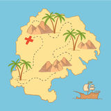 Hand drawn vector illustration - treasure map and design element. S (mountains,   palm, ship, sea etc Stock Photography