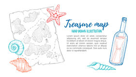 Hand drawn vector illustration - treasure map with sea shells, s Stock Images