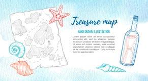 Hand drawn vector illustration - treasure map with sea shells Stock Photography