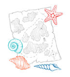 Hand drawn vector illustration - treasure map with sea shells an Stock Photography