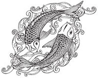Hand drawn vector illustration of two Koi fishes (Japanese carp). With waves. Symbol of love, friendship and prosperity. Black and white image. Can be used for Royalty Free Stock Photos