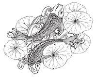 Hand drawn vector illustration of two Koi fishes with lotus leav Stock Photos