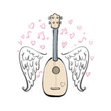 Hand drawn vector illustration with ukulele, sketch wings, hearts and melody. Different lines Royalty Free Stock Photo
