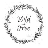 Hand drawn vector illustration. Vintage decorative laurel wreath Royalty Free Stock Photo