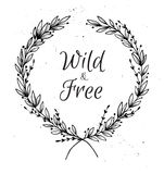 Hand drawn vector illustration. Vintage decorative laurel wreath Stock Photography