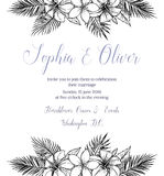 Hand drawn vector illustration - wedding invitation with bouquet Royalty Free Stock Image