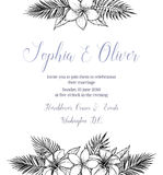 Hand drawn vector illustration - wedding invitation with bouquet Stock Images