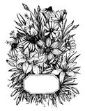 Hand drawn vector illustration -  wedding invitation. Vintage ca. Rd with flowers stock illustration
