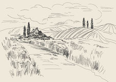 Hand drawn vector Illustration of wheat fields and village house. Ink drawing in vintage style.  Stock Images