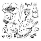 Hand drawn vector illustration - Wok.  Royalty Free Stock Photos