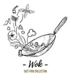 Hand drawn vector illustration - Wok. Wok pan, chinese noodles, Royalty Free Stock Images