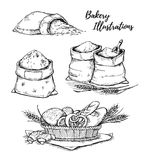 Hand drawn vector illustrations - bakery. Basket with pastry. Sa Stock Photo