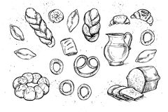 Hand drawn vector illustrations - Bakery shop. Grocery store. Organic food. Set of vintage illustrations Stock Photos
