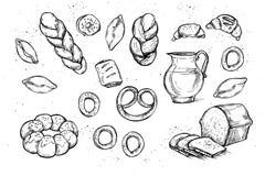Hand drawn vector illustrations - Bakery shop. Stock Photos