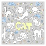 Doodle with cute cats vector illustration