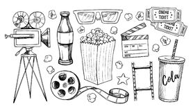 Hand drawn vector illustrations - Cinema collection. Movie and f. Ilm elements in sketch style. Perfect for posters, banners, flyers, advertising, billboards Stock Images