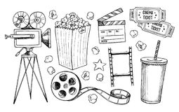 Hand drawn vector illustrations - Cinema collection. Movie. And film elements in sketch style Stock Photos
