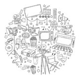 Hand drawn vector illustrations - Cinema collection. Movie and film elements in sketch style.