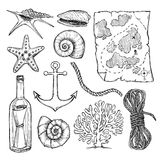 Hand drawn vector illustrations - collection of seashells and  m Stock Photo
