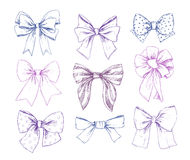 Hand drawn vector illustrations. Different types of bows. Perfec Royalty Free Stock Image