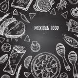 Hand drawn vector illustrations - Mexican food tacos, nachos, b Royalty Free Stock Photos
