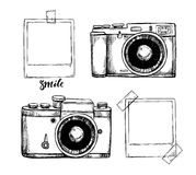 Hand drawn vector illustrations. Retro cameras and Instant photo Stock Image