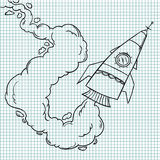 Hand drawn vector illustrations. Rocket launch. Doodle Stock Photography