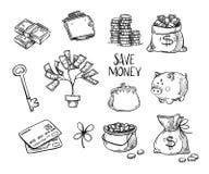 Hand drawn vector illustrations - Save money. Doodle design. Elements. Money, finance, payments, banks, cash etc Stock Image