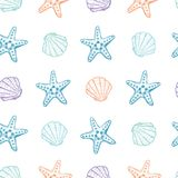 Hand drawn vector illustrations - seamless pattern of seashells. Marine background. Perfect for invitations, greeting cards, posters, prints, banners, flyers Royalty Free Stock Photography