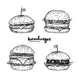 Hand drawn vector illustrations - Set of Hamburgers. Sketch coll Royalty Free Stock Photos