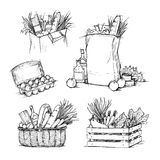 Hand drawn vector illustrations - Shopping bags with healthy food Stock Image