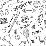 Hand drawn vector illustrations. Sport and fitness seamless pattern. Sketch background Royalty Free Stock Image