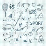 Hand drawn vector illustrations. Sport and fitness set. Sketch icons Stock Images