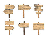 Hand drawn vector illustrations. Wooden signposts and sign board Stock Photography