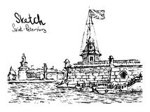 Hand drawn vector illustratoin of St. Petersburg.P Stock Photo