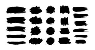 Free Hand Drawn Vector Ink Brush Strokes, Black Paint Spot Set. Dirty Paint Blobs And Daubs Artistic Backgrounds. Grunge Texture Stock Images - 193087204