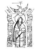 Virgin Mary, Holy Spirit and religious Christian symbols. Hand drawn vector ink illustration or drawing of Virgin Mary, Holy Spirit and religious Christian Stock Photography