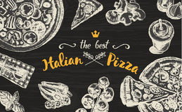 Hand drawn vector Italian pizza blackboard sketch Royalty Free Stock Image