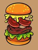Vector burger jump. Hand drawn vector of jumping burger ingredients Royalty Free Stock Photography