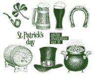 Hand drawn vector leprechaun hat, clover, beer mug, barrel, golden coin pot sketch set for St. Patrick`s Day. Irish stock illustration