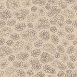 Vector lilies contours seamless pattern on beige background. Retro floral design. Hand drawn vector lilies contours seamless pattern on beige background. Retro Royalty Free Stock Photo