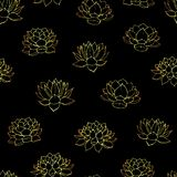 Hand drawn vector lilies gold contours seamless pattern on the black background. Royalty Free Stock Photos