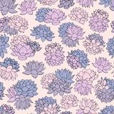 Hand drawn vector lilies seamless pattern in pastel colors on beige background. Stock Photography