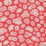 hand drawn vector lilies silhouettes seamless pattern on red background. Asian floral design Royalty Free Stock Images